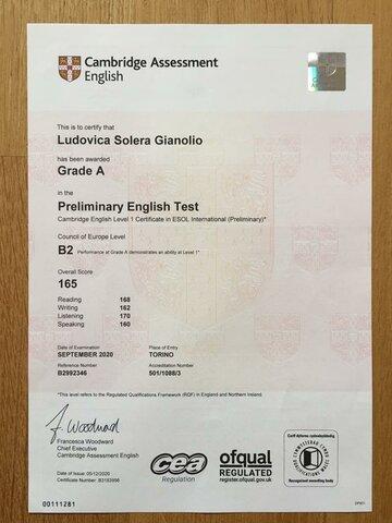 Terza certificazione lingua inglese PET
