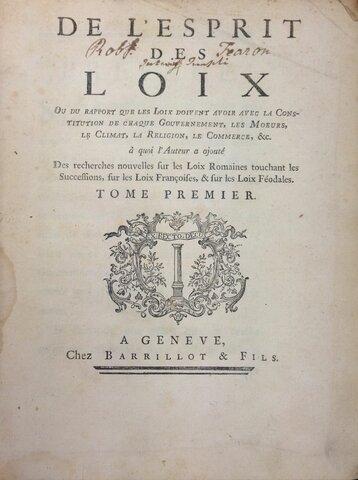 Publicación del espíritu de las leyes de Montesquiu