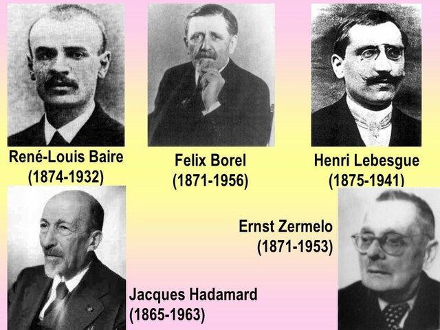 Emile Borel (1871-1956), René Louis Baire (1874-1932) y Henry Lebesgue (1875- 1941)