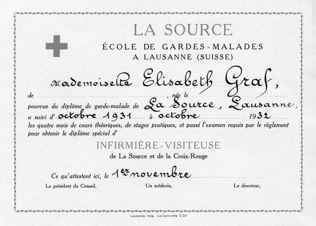 «Ecole romande de gardes-malades de la Croix-Rouge suisse» (escuela de enfermería de la Cruz Roja francófona)