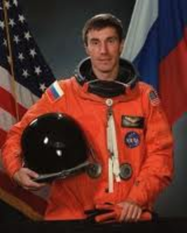 February 3 1994--first Russian to fly aboard U.S space shuttle.