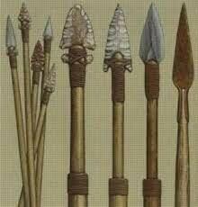 Lanzas, arcos, flechas, y arpones