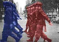Enfrentamiento azules y colorados