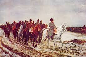 Napoleon and his men march on Russia