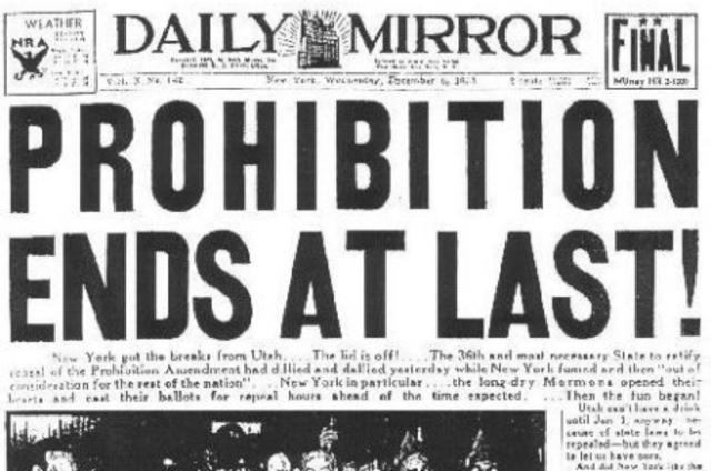 The 21st Amendment to the U.S. Constitution is passed, ending prohibition