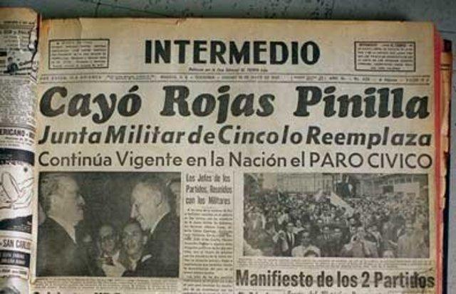 Finaliza dictadura del Gnral. Rojas