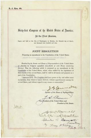 Sixteenth amendment ratified