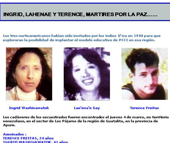 Secuestro de Terence Freitas, Ingrid Washinawatok y Laheenae Gay