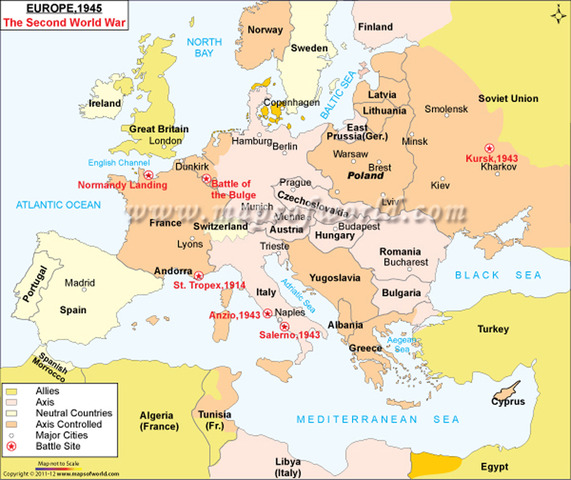 map of europe during 1942