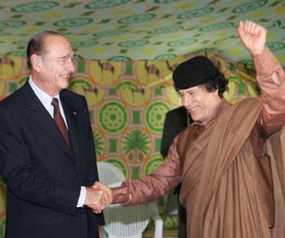 Jacques Chirac visita a Gaddafi