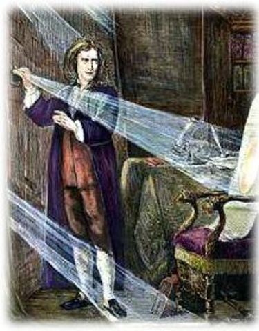 Isaac Newton discovers that white light is composed of different colors