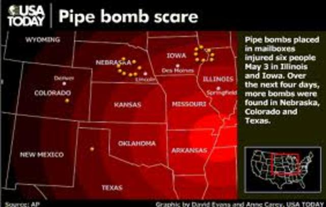 Pipe bombs found in six residential mailboxes, domestic terrorism suspected; drought devastated crops, caused invasion of grasshopper, losses more than $1 billion