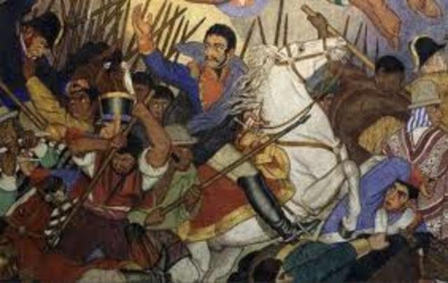 Simón Bolívar en guerra contra los Españoles.