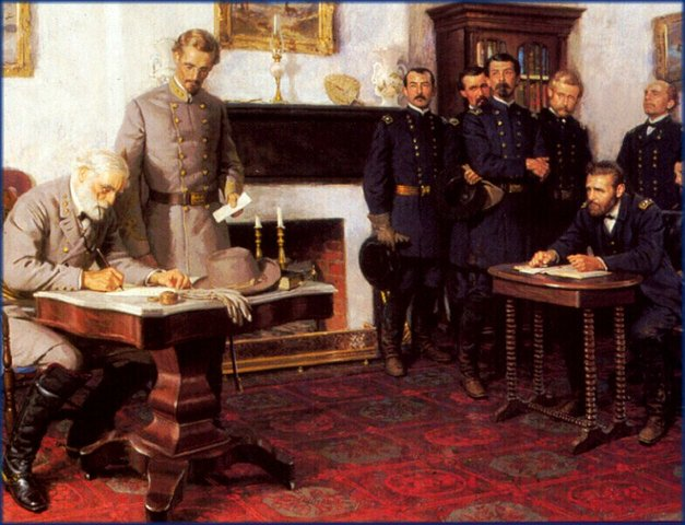 Battle of Appomattox Courthouse; Lee surrenders to Grant
