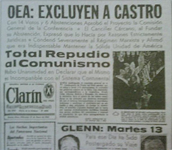 Conferencia de cancilleres de la OEA en Punta del Este decide la expulsión deCuba de la organización interamericana; marcha de protesta desde Montevideo.
