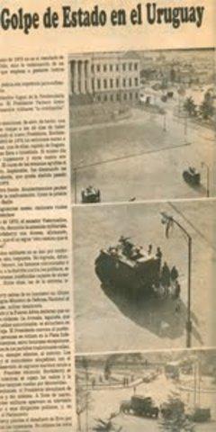 El presidente del Uruguay Juan María Bordaberry, con el apoyo de las Fuerzas Armadas disolvió las Cámaras de Senadores y Representantes y creó un Consejo de Estado con funciones legislativas y de contralor administrativo, restringió la libertad de pensami