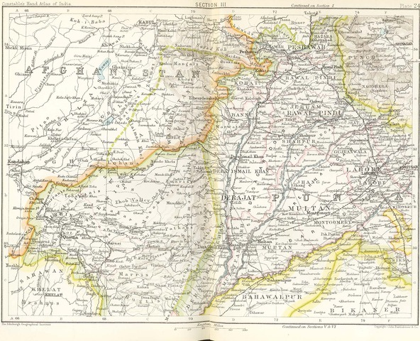 """Russian map of """"Afghanistan Frontiers"""" 1893"""