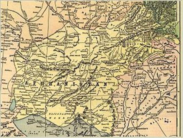 Map of Afghanistan in 1893 before Durand Line