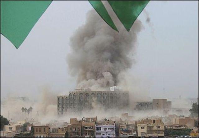 Iraqi Rebels Bomb Government Buildings in Baghdad, Iraq