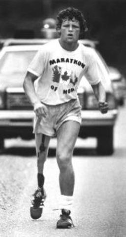 Terry Fox begins his Marathon of Hope run across Canada in support of cancer research