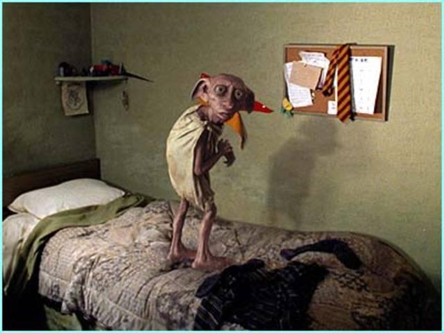 Dobby appears in Harry Potter's bedroom
