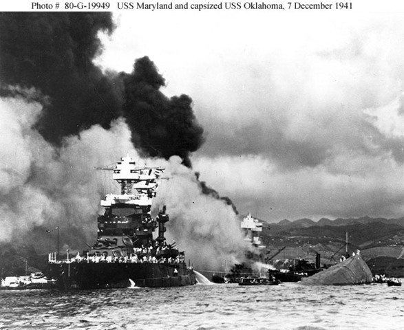 The attack on Pearl Harbor, Hawaii