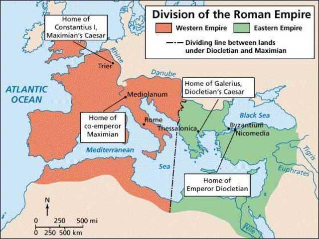 Diocletian splits the Roman Empire