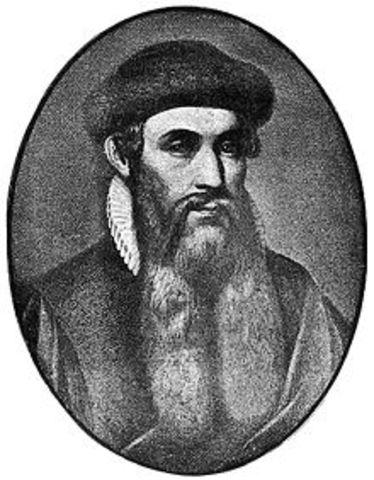 Gutenberg invents printing press