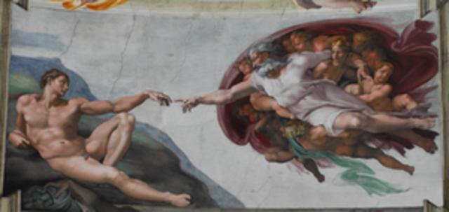 Michaelangelo paints the Sistine Chapel ceiling