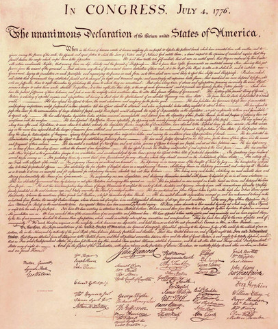 The Declaration of Independence signing