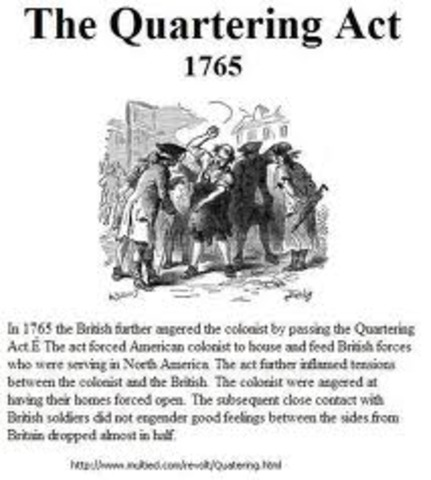 Quartering Act is passed by Parliament