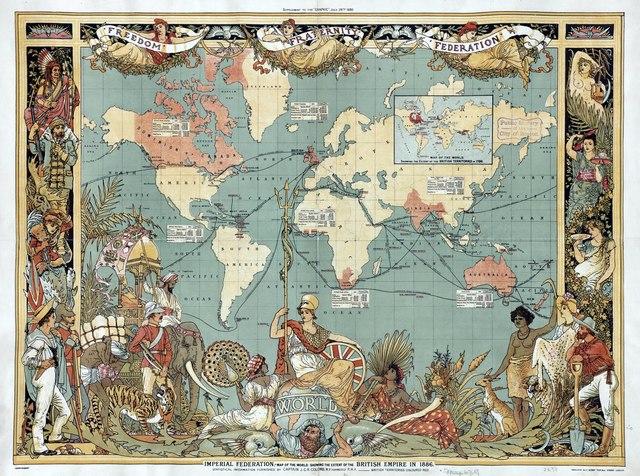 Carte de l'empire britannique en 1886, par Walter Crane.