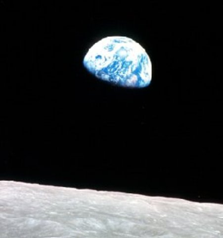 A photo of the earth taken from the moon