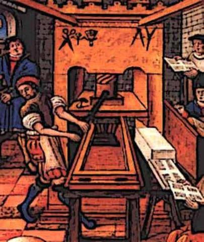 El primer llibre imprès (una edició de la Bíblia) i posterior imprimició de partitures musicals.