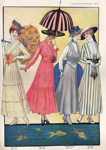 1915- Fashion still, hasn't really changed that much, mainly dresses with a few colourful patterns on them and women used to carry fashionable umbrellas and sun shades around with with them, very vintage...