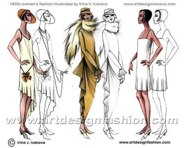 """1920-1920s fashion clearly defined it's self as the fashion of the modern era. This period became known as the """"Roaring 20s"""". World War 1 was finally over; art and creative expression were alive again, and with it came new and colorful fabrics and materia"""