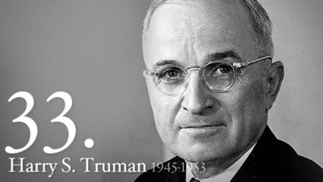 US President Roosevelt dies - Truman becomes President.