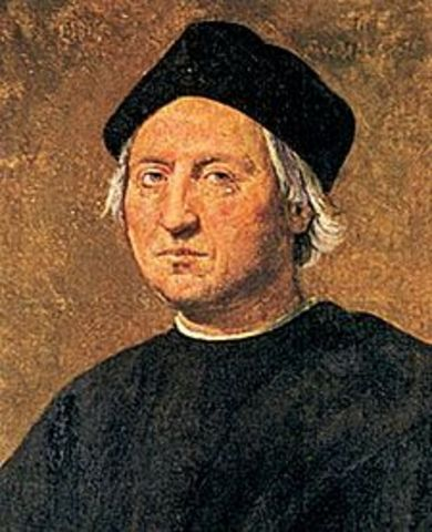 Christopher Columbus lands in North America