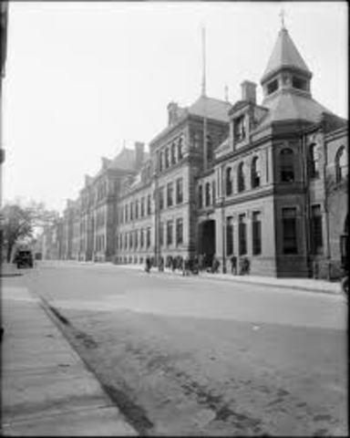 The 1st public high school, Boston English HS opened.