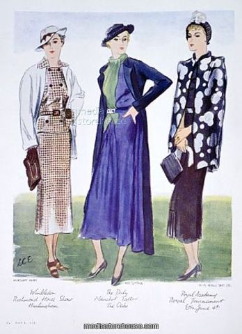 1935-The most characteristic North American fashion trend from the 1930s to the end of World War II was attention at the shoulder, with butterfly sleeves and banjo sleeves, and exaggerated shoulder pads for both men and women by the 1940s. The period also