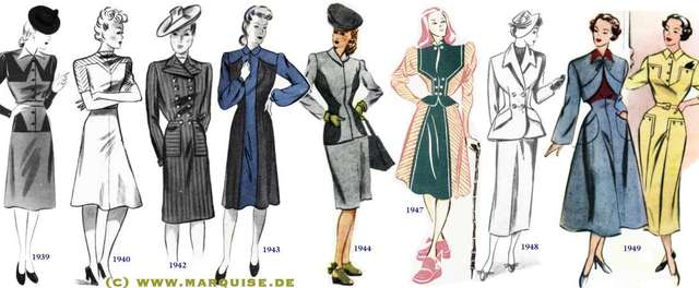 1940-Hardly any change from the late 1930s: Wide shoulders - emphasised even more than before -, and skirts that only just cover the knee. As if to make up for the short skirt, the neckline is high and will continue to be high the whole decade long.