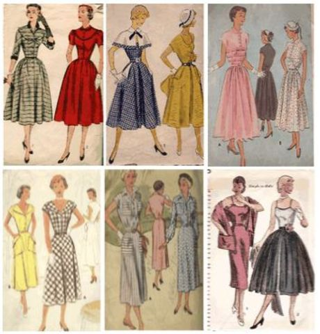 1950- Wide skirts, narrow waists, horizontal seams either above or below the waist. For the dirst time, two silhouettes exist side by side: The narrow skirt on the one hand, the wide one that we nowadays usually associate with the 1950s on the other.