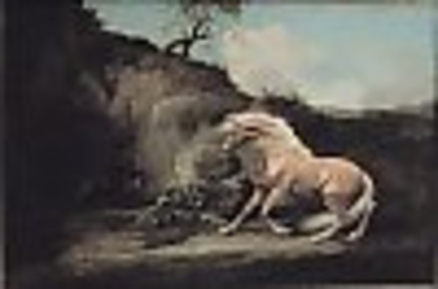 (Art) Romanticism-Horse Frightened by a Lion