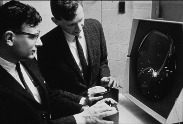 Spacewar, the first computer video game invented.
