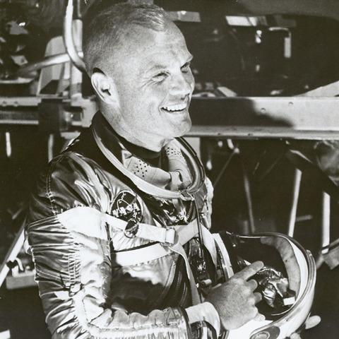 Astronaut John Glenn circles the Earth