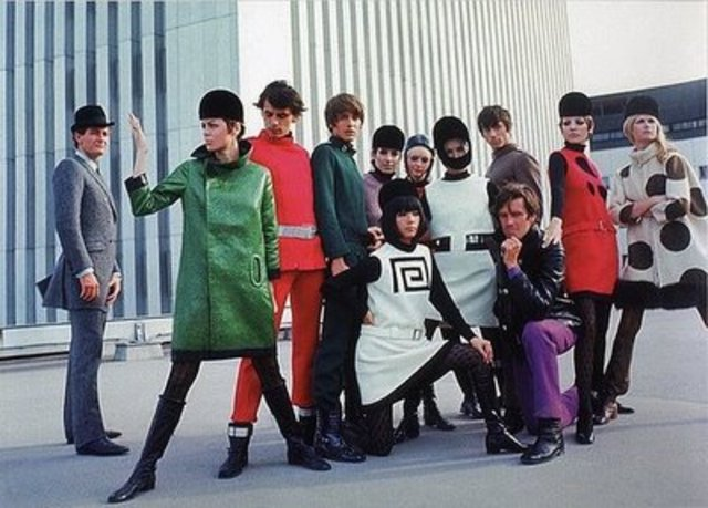 Space age clothing becomes popular.