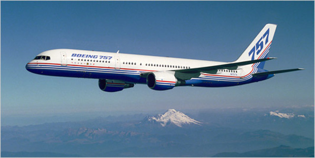 The Boeing 757 makes its first flight