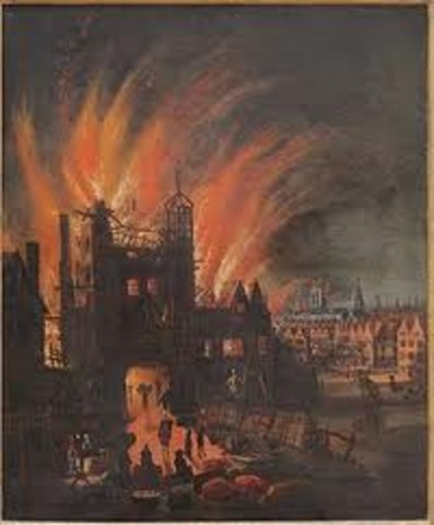 (History) The great fire destroys a great part of London.