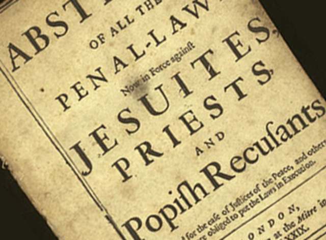 (History) The English Test Act forces Catholics out of office.