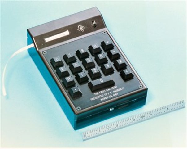 The first handheld calculator invented.